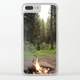 Backpacking Camp Fire Clear iPhone Case