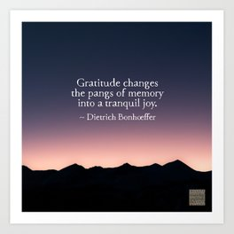 Gratitude and tranquil joy Art Print