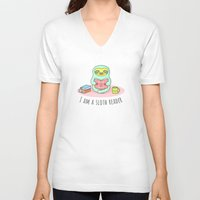 reading V-neck T-shirts featuring Reading Sloth by Sombras Blancas Art & Design