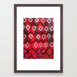 Red and Black Diamond Chevron  Framed Art Print