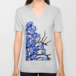 Maple Leaves Blue Unisex V-Neck
