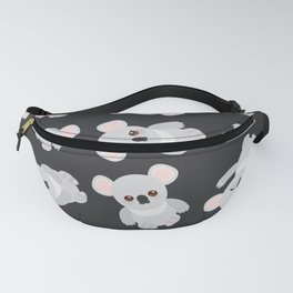 Funny cute koala on black background Fanny Pack