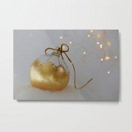 Golden Christmas Ball with Small Lights Metal Print