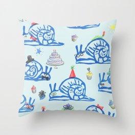 Snail Party Throw Pillow