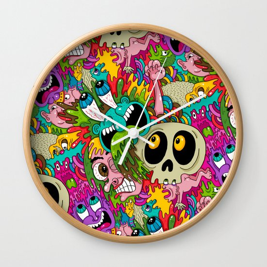 Puke Pattern Wall Clock