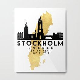 STOCKHOLM SWEDEN SILHOUETTE SKYLINE MAP ART Metal Print