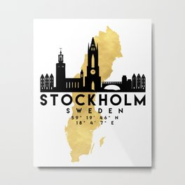 STOCKHOLM SWEDEN SILHOUETTE SKYLINE MAP ART Metal Print