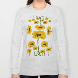 YELLOW POPPIES FLOWER ON WHITE Long Sleeve T-shirt