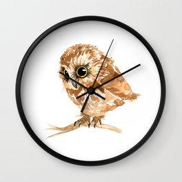 Watercolor Brown Owl Wall Clock