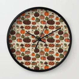 Fall Pumpkin Pattern Wall Clock