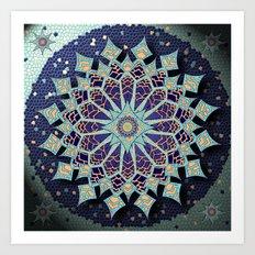 Mosaic Mandala in Blue Art Print
