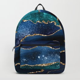 Blue Night Galaxy Marble Backpack