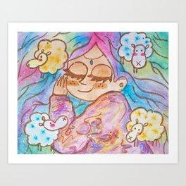 The Princess and the four sheep Art Print