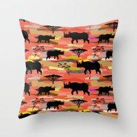 rhino Throw Pillows featuring Rhino by misslin