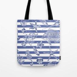 Sea things, blue striped design Tote Bag