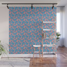 Blue lobsters on dusty pink. Wall Mural