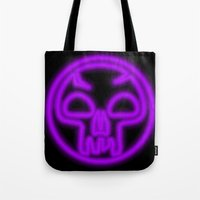 magic the gathering Tote Bags featuring Magic the Gathering, Neon Black Mana by Thorn Blackstar