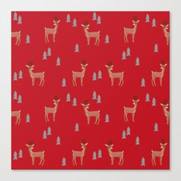 Rudolph christmas santa's reindeer forest winter deer Canvas Print