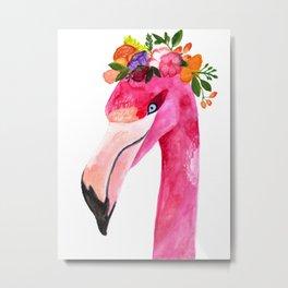 Prissy Flamingo Metal Print