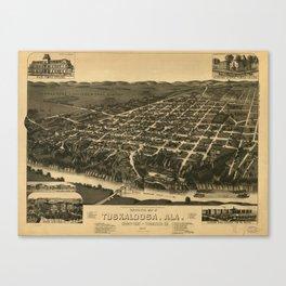 Vintage Pictorial Map of Tuscaloosa Alabama (1887) Canvas Print