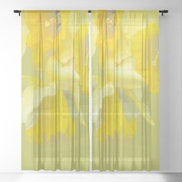 Sign of Spring - Yellow Narcissus on Spring Green Background #decor #society6 #buyart Sheer Curtain