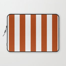 Rust brown - solid color - white vertical lines pattern Laptop Sleeve