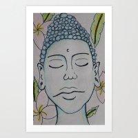 Buddha and Flowers Art Print