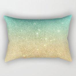 Aqua teal abstract gold ombre glitter Rectangular Pillow