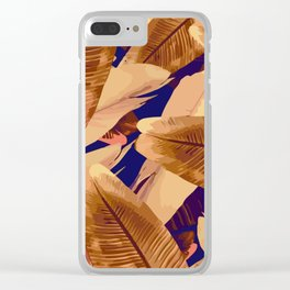 Banana Leaves Orange and Purple Clear iPhone Case