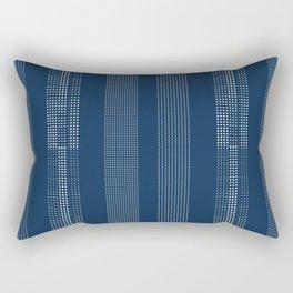 Navy Dotted Shibori Blue Indigo and White Dots Rectangular Pillow