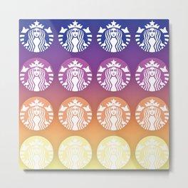 Sunset Gradient Starbucks Logo Metal Print