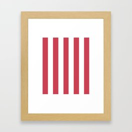 Brick red fuchsia - solid color - white vertical lines pattern Framed Art Print