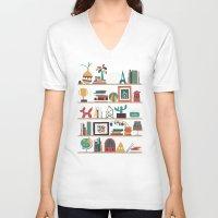 budi V-neck T-shirts featuring The shelf by Picomodi