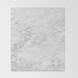 Light Grey Marble Silver Glitter Gray Throw Blanket