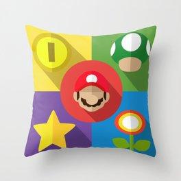 Super Mario flat Throw Pillow
