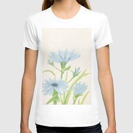 Watercolor Garden Flower Blue Cornflower Wildflower T-shirt