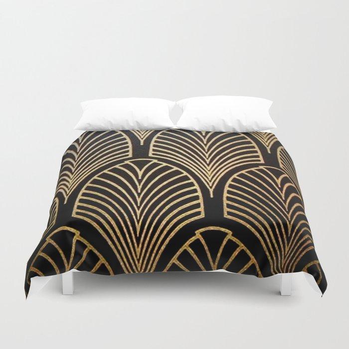 Art nouveau Black,bronze,gold,art deco,vintage,elegant,chic,belle époque Bettbezug