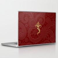 hindu Laptop & iPad Skins featuring Maroon Ganesha - Hindu Elephant Deity by Enduring Moments