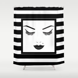 Black Lips Beauty Face Stripes Shower Curtain