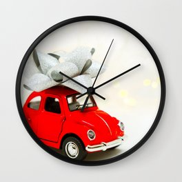 Red Car Christmas Present (Color) Wall Clock