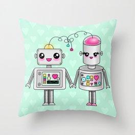 Cute robots in love Throw Pillow