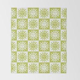 Mid Century Modern Sun Pattern Chartreuse Throw Blanket