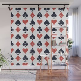 Icons of playing cards pattern Wall Mural