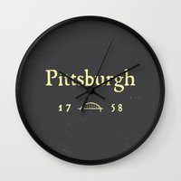 pittsburgh Wall Clocks featuring Pittsburgh by Nick Signet