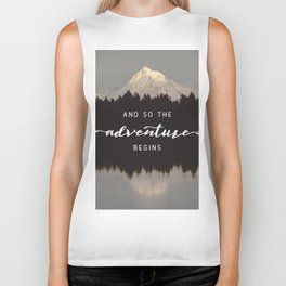 And So The Adventure Begins - Mountain Reflection Biker Tank