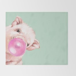 Bubble Gum Sneaky Baby Pig in Green Throw Blanket