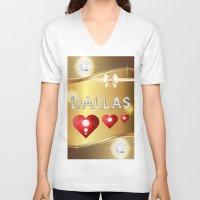 dallas V-neck T-shirts featuring Dallas 01 by Daftblue