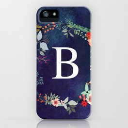 Personalized Monogram Initial Letter B Floral Wreath Artwork iPhone Case