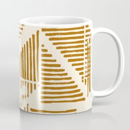 Stripe Triangle Block Print Geometric Pattern in Orange Coffee Mug