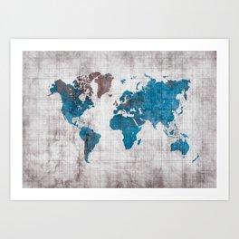 world map 96 blue #worldmap #map Art Print